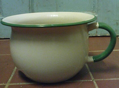 The Victorians knew what they were doing when they designed these enamelled child size chamber pots.